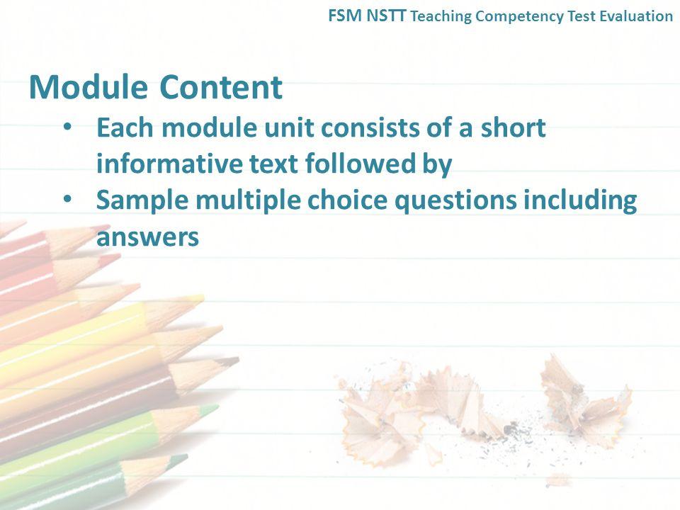 FSM NSTT Teaching Competency Test Evaluation. The NSTT Teaching ...