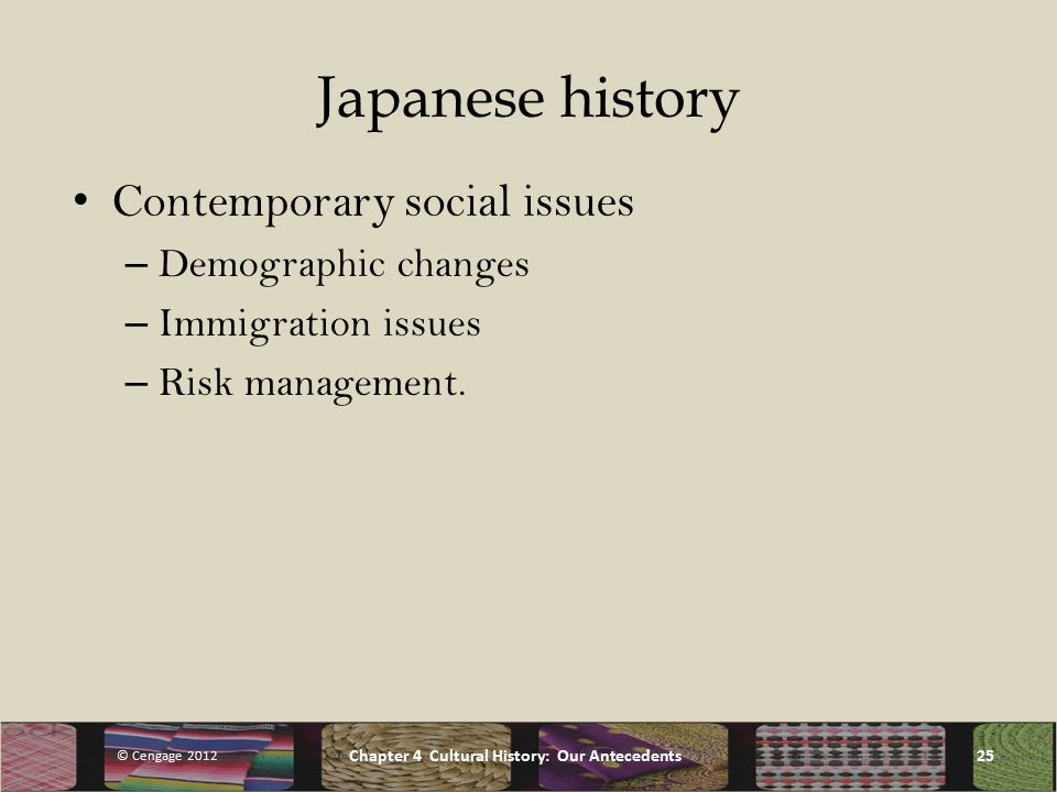 Japanese history Contemporary social issues – Demographic changes – Immigration issues – Risk management.