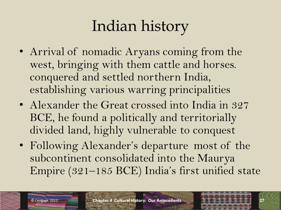 Indian history Arrival of nomadic Aryans coming from the west, bringing with them cattle and horses.