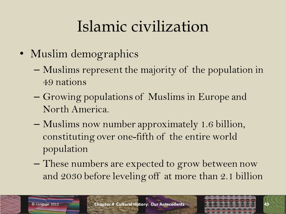 Islamic civilization Muslim demographics – Muslims represent the majority of the population in 49 nations – Growing populations of Muslims in Europe and North America.