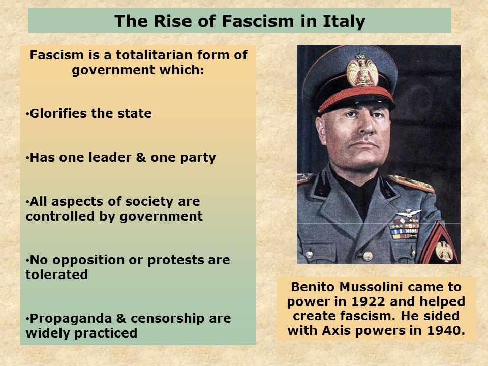 italy totalitarian state In this lesson, we explore the rise of fascism in interwar italy, as led by il duce, benito mussolini mussolini's oppressive, totalitarian regime.