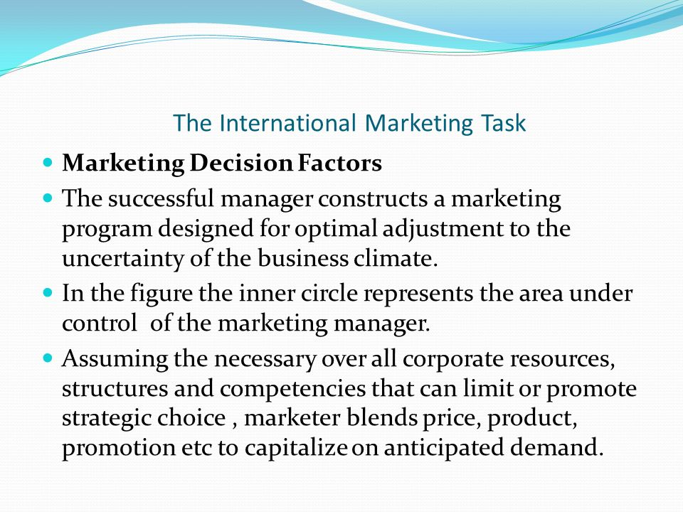 the international marketing task marketing decision factors the successful manager constructs a marketing program designed for - International Marketing Manager