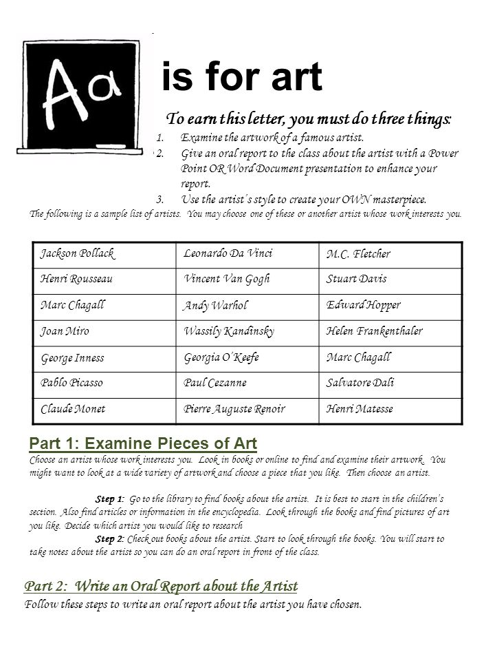 is for art Part 2: Write an Oral Report about the Artist Follow these steps