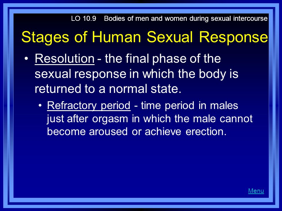 Stages of Human Sexual Response Resolution - the final phase of the sexual response in which the body is returned to a normal state. Refractory period