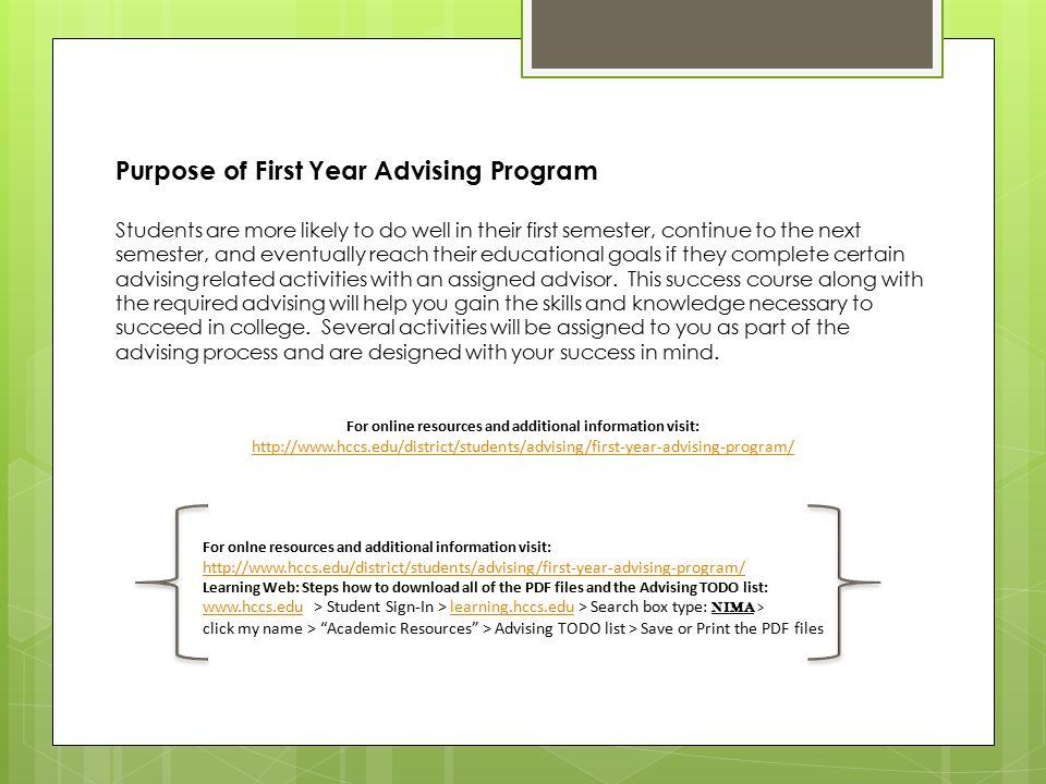 Student Success Martha Scribner Senior Advisor. First Year ...