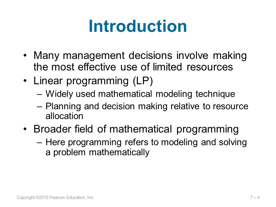 importance of linear programming in decision making Search results for 'what is a linear programming problem discuss the scope and role of linear programming in solving management problems discuss and describe the role of linear programming in managerial decision making.