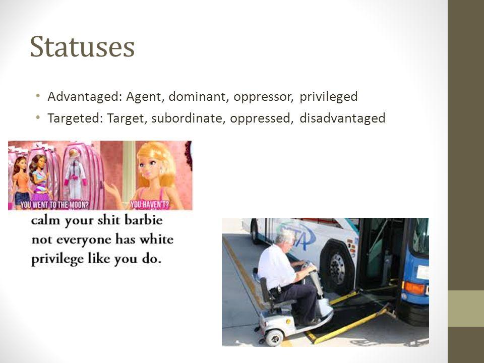 Statuses Advantaged: Agent, dominant, oppressor, privileged Targeted: Target, subordinate, oppressed, disadvantaged