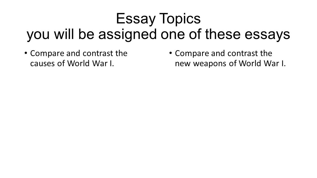 writing a thesis first brainstorm the topic try to come up essay topics you will be assigned one of these essays compare and contrast the causes of