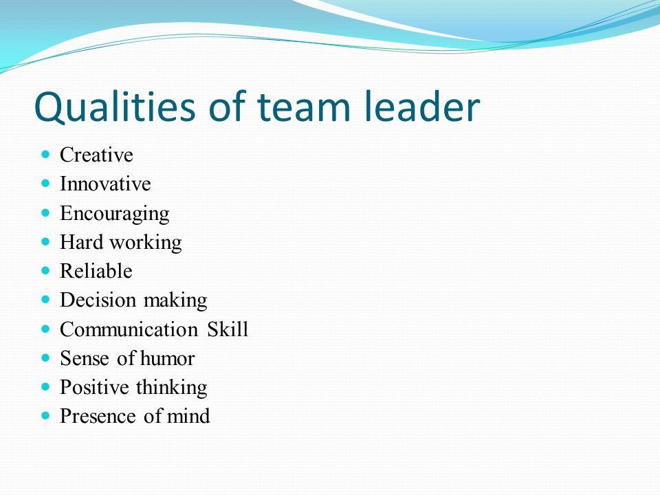 qualities of team leader