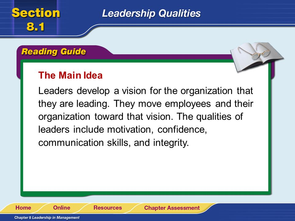 Graphic Organizer Developing Leadership Skills Read books, watch videos, and take courses on leadership.