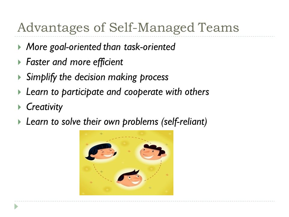 Advantages of Self-Managed Teams  More goal-oriented than task-oriented  Faster and more efficient  Simplify the decision making process  Learn to participate and cooperate with others  Creativity  Learn to solve their own problems (self-reliant)