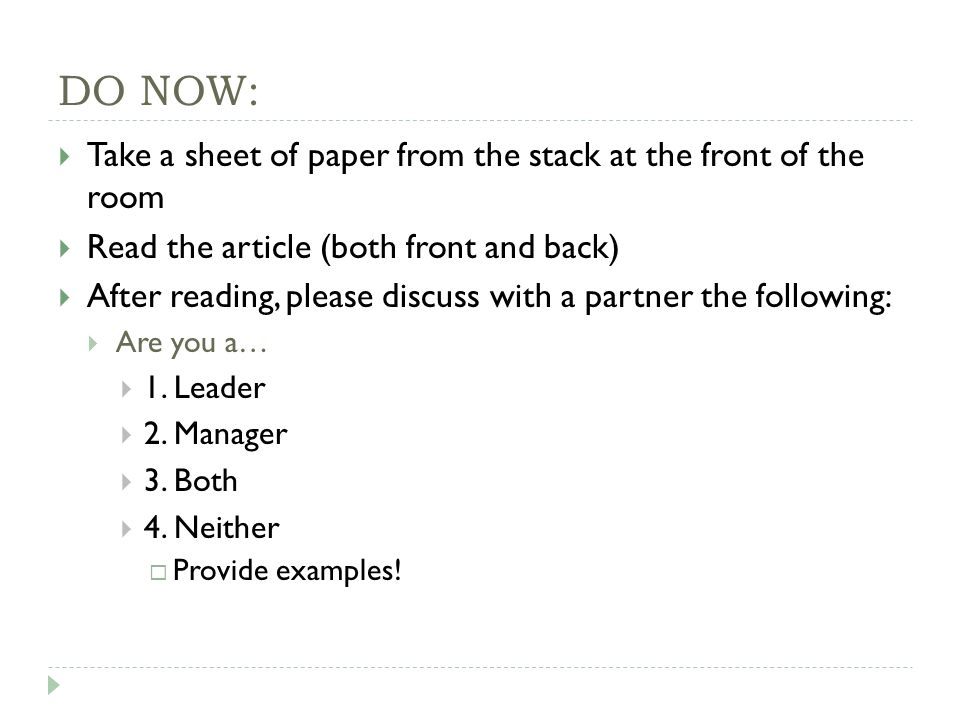 DO NOW:  Take a sheet of paper from the stack at the front of the room  Read the article (both front and back)  After reading, please discuss with a partner the following:  Are you a…  1.