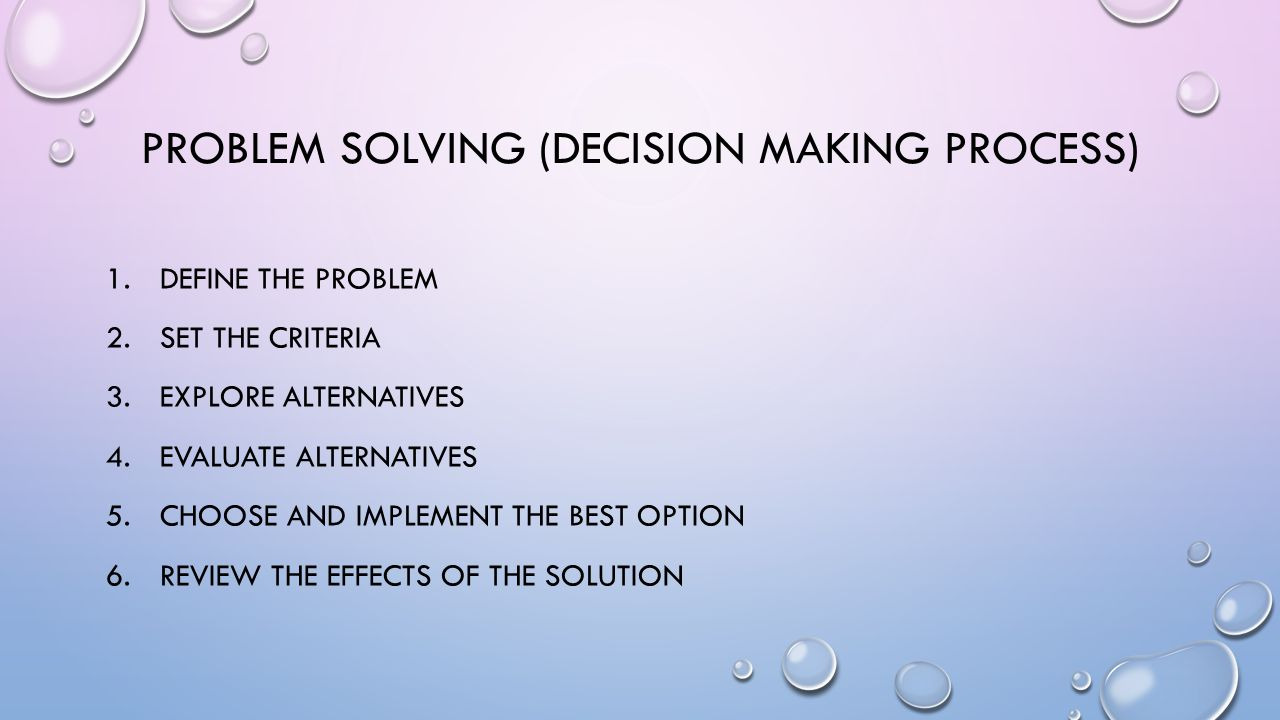 PROBLEM SOLVING (DECISION MAKING PROCESS) 1.DEFINE THE PROBLEM 2.SET THE CRITERIA 3.EXPLORE ALTERNATIVES 4.EVALUATE ALTERNATIVES 5.CHOOSE AND IMPLEMENT THE BEST OPTION 6.REVIEW THE EFFECTS OF THE SOLUTION