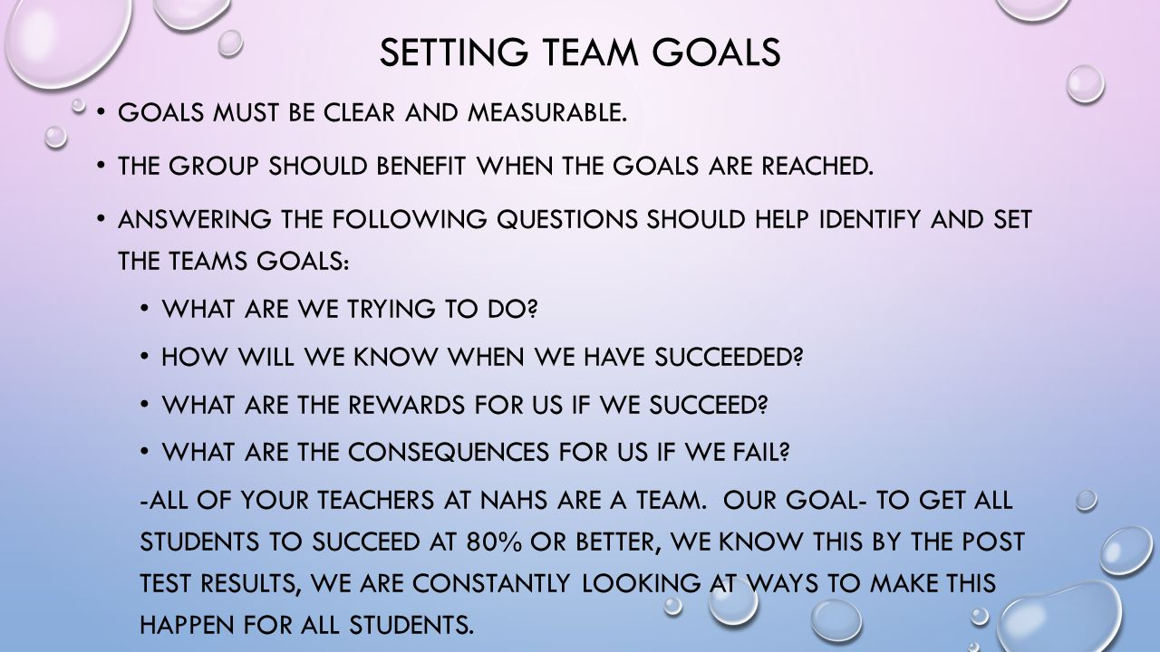 SETTING TEAM GOALS GOALS MUST BE CLEAR AND MEASURABLE.