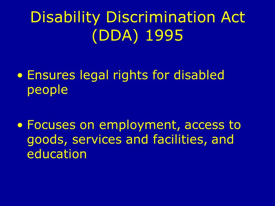 discrimination act The law protects you against discrimination at work, including: dismissal definition of disability under the equality act 2010 disability rights report hate crime.