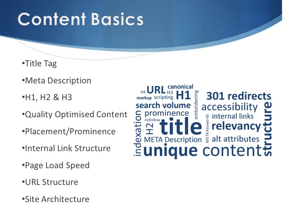 Title Tag Meta Description H1, H2 & H3 Quality Optimised Content Placement/Prominence Internal Link Structure Page Load Speed URL Structure Site Architecture