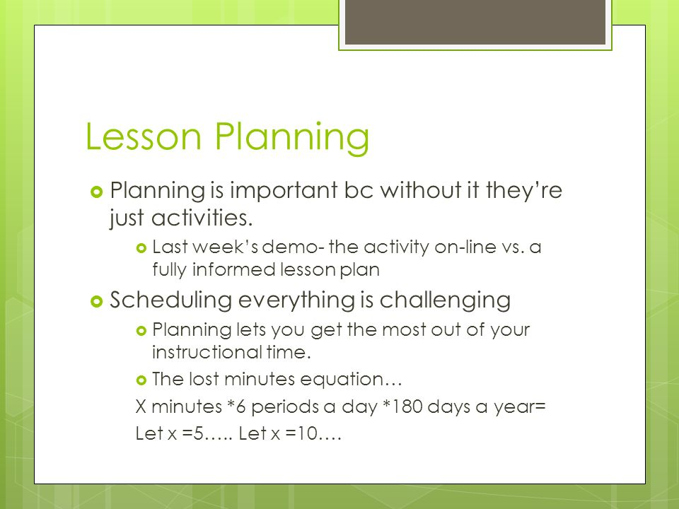Lesson Planning: A Backward Design Approach September 22- Week Ppt