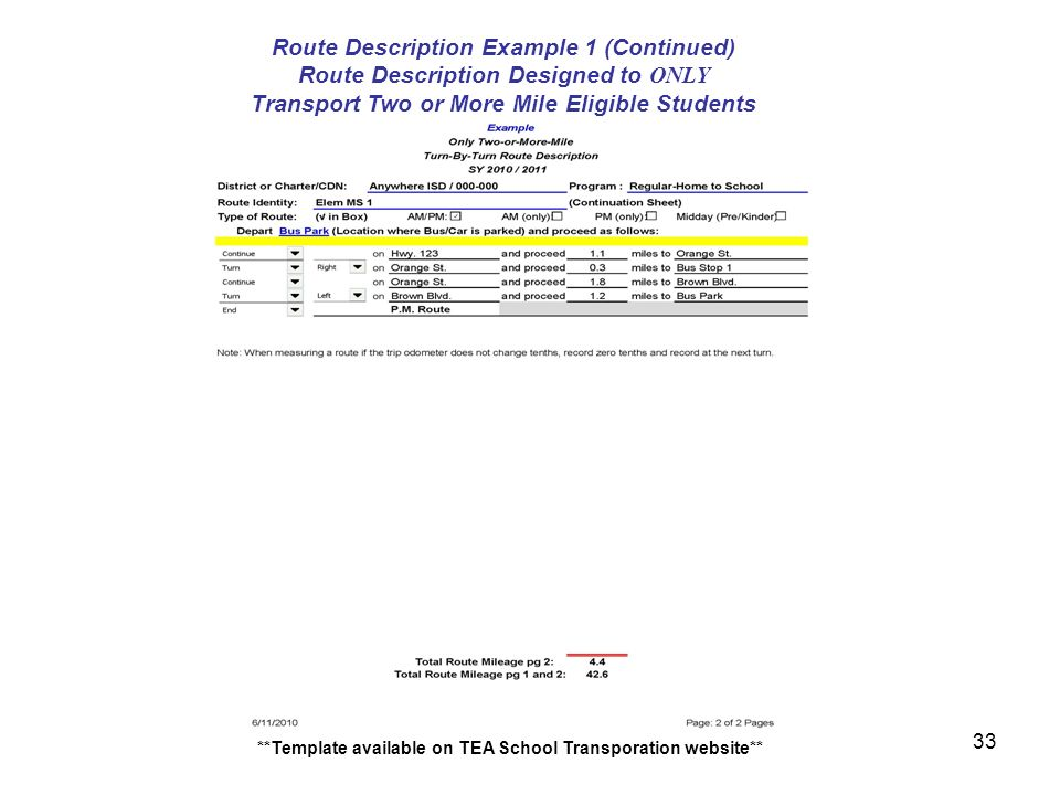 Danny sanchez school transportation reportingfunding points of route description designed to only transport two or more mile eligible students template available on tea school transporation website 33 pronofoot35fo Gallery