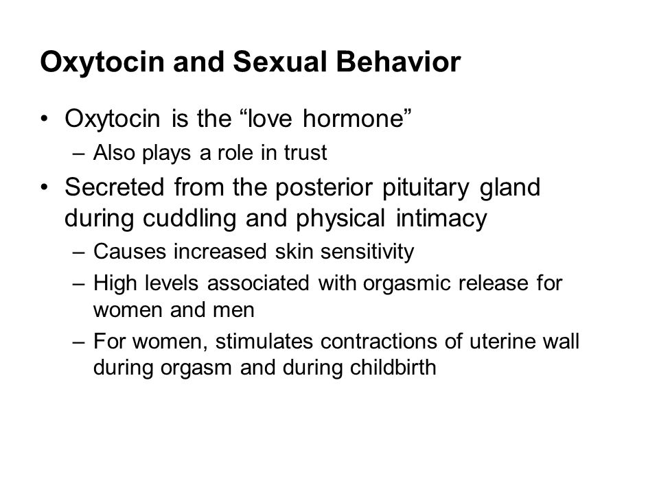 Hormones released during woman orgasm
