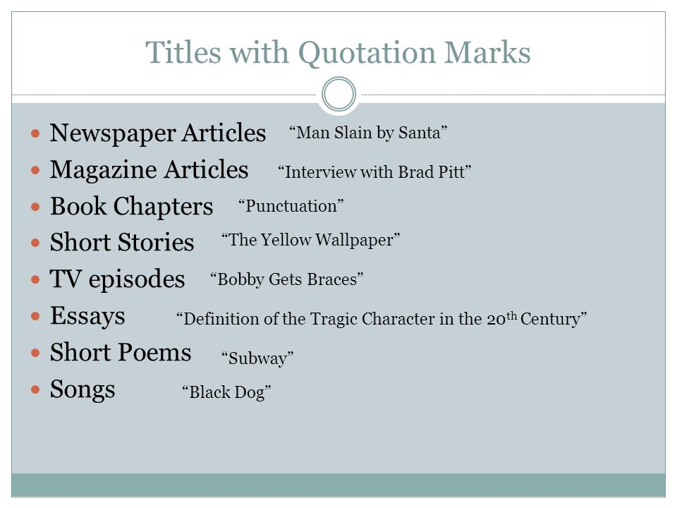 punctuation of book titles in essay Using quotation marks a free guide from essay uk here is an example cited from g v carey's famous book on punctuation titles of books, titles of poems.