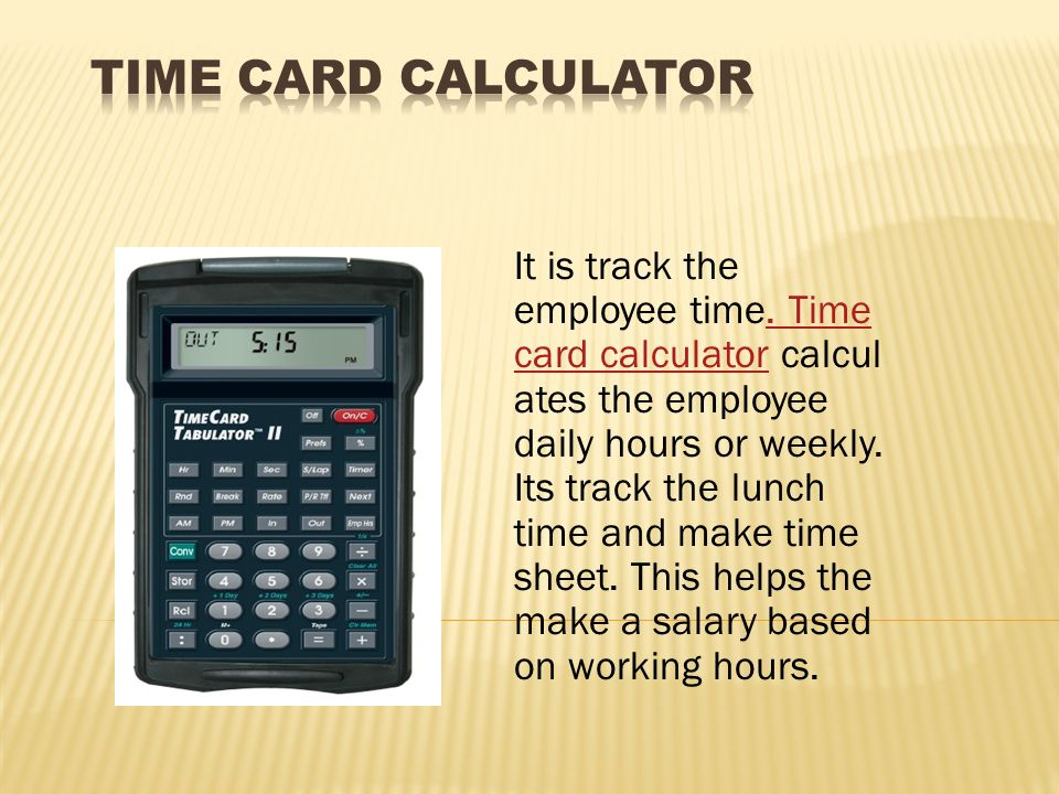 It Is Track The Employee Time. Time Card Calculator Calcul Ates