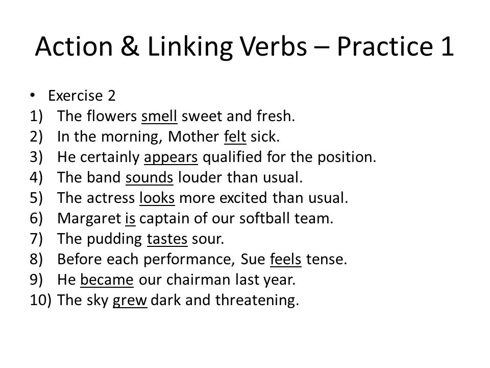 Action Linking Verbs Practice 1 Exercise 1 1Action6 linking – Action and Linking Verbs Worksheet