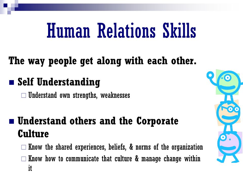 Human Relations Skills The way people get along with each other.