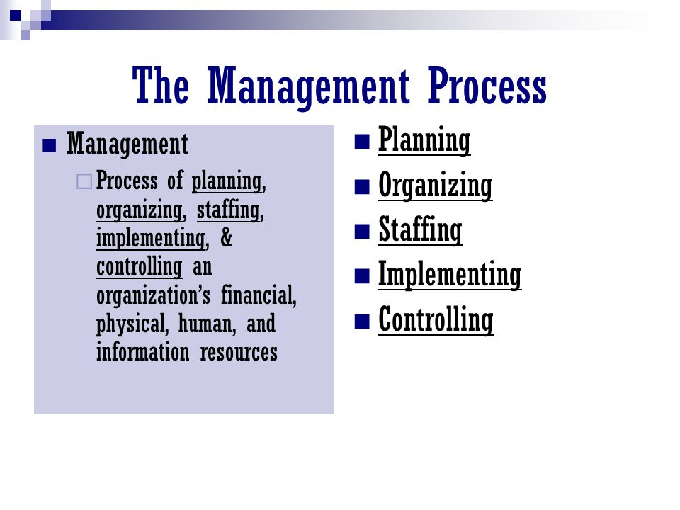 The Management Process Management  Process of planning, organizing, staffing, implementing, & controlling an organization's financial, physical, human, and information resources Planning Organizing Staffing Implementing Controlling