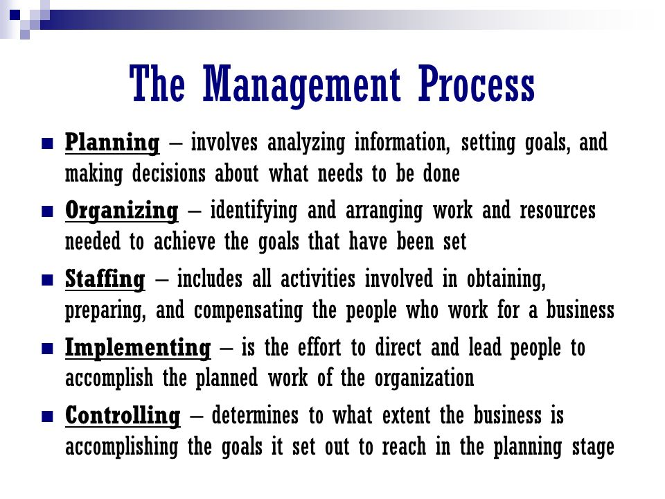 Levels Of Management Top Managers:  Responsible for the overall performance of the firm (CEO, CFO, Pres., VP, etc.)  Spend most of their time on planning and controlling activities Middle Managers:  Implement the strategies, policies, & decisions by top managers (plant mgr., operations mgr., service mgr., human resources mgr.)  Most of their time is devoted to the organizing, staffing, and implementing functions Supervisors  Supervise the work of employees day to day (supervisor, office manager, group leader)  Spend most of their time implementing the plans of executives and middle managers
