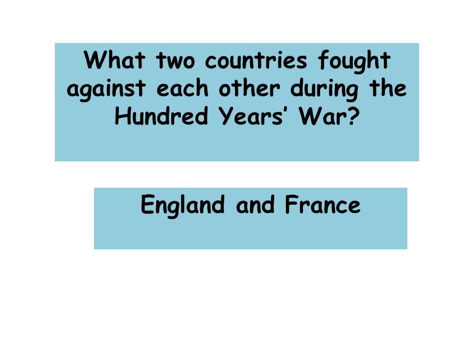 What two countries fought against each other during the Hundred Years' War England and France