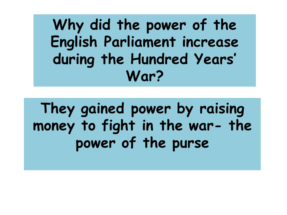 Why did the power of the English Parliament increase during the Hundred Years' War.