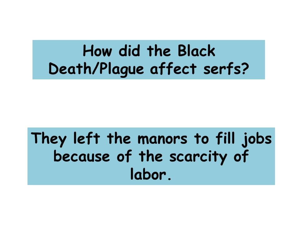 How did the Black Death/Plague affect serfs.