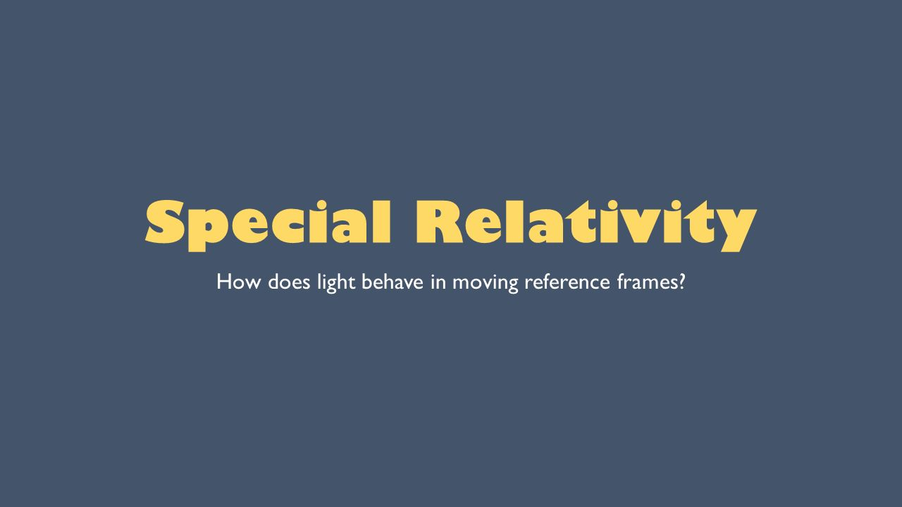 1 special relativity how does light behave in moving reference frames - Moving Picture Frames