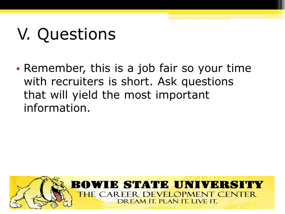 questions to ask at job fair