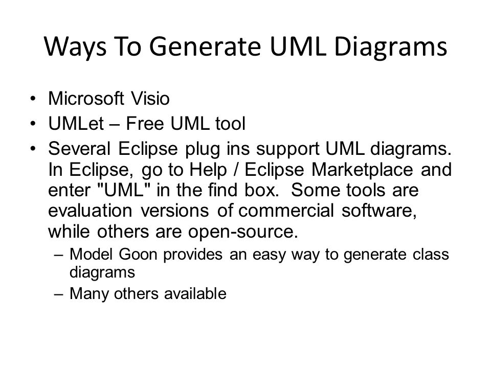 Lecture 13 unified modeling language uml the first applications ways to generate uml diagrams microsoft visio umlet free uml tool several eclipse plug ins ccuart Images