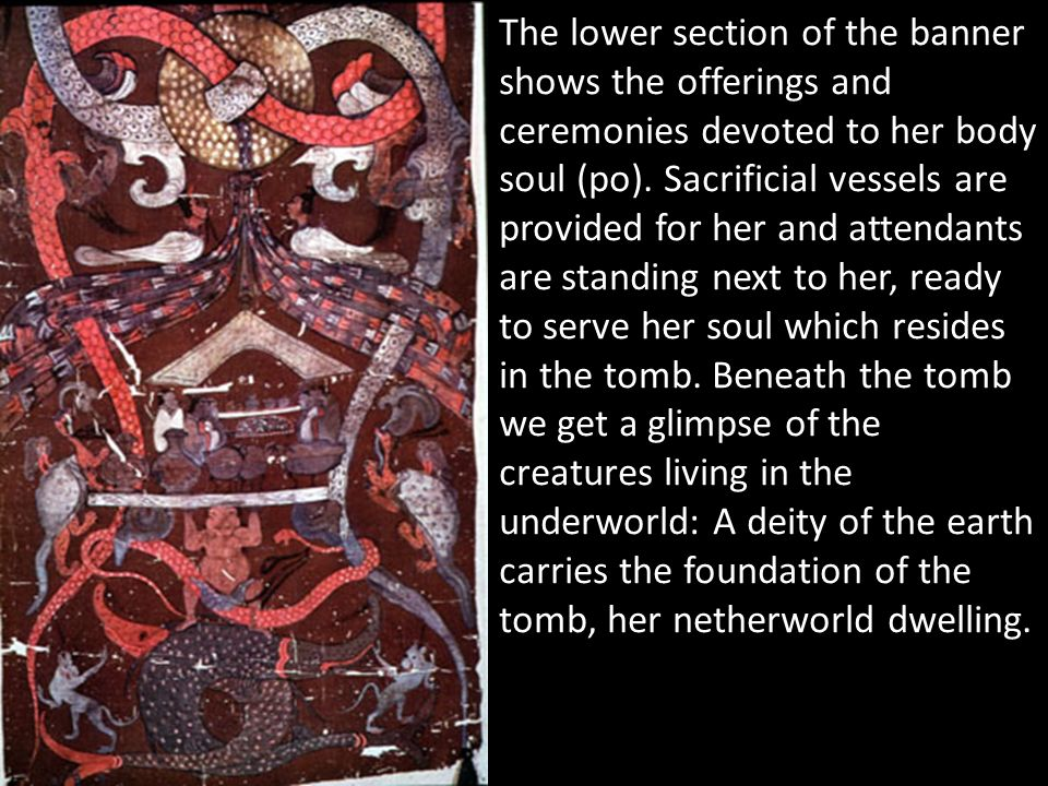 The lower section of the banner shows the offerings and ceremonies devoted to her body soul (po).