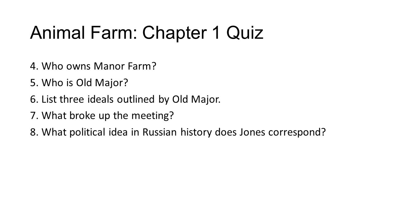 chapter 1 be sure to answer each question while you are reading 2 animal farm
