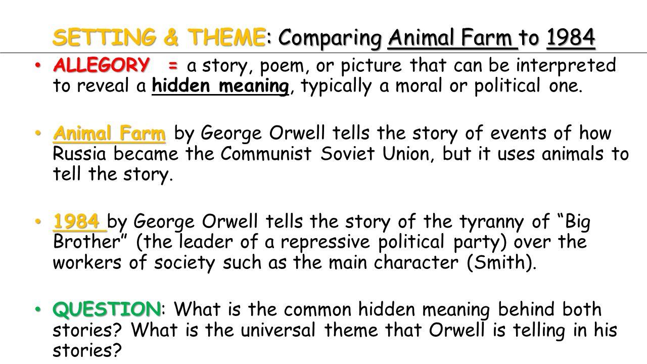 essay comparison animal farm 1984 Transcript of 1984 vs animal farm more character comparison animal farm the characters in animal farm and 1984 posses similar and seperate characteristics.