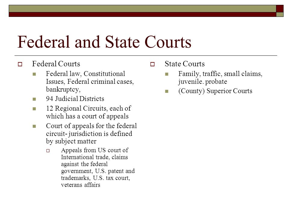 Federal and State Courts  Federal Courts Federal law, Constitutional Issues, Federal criminal cases, bankruptcy, 94 Judicial Districts 12 Regional Circuits, each of which has a court of appeals Court of appeals for the federal circuit- jurisdiction is defined by subject matter  Appeals from US court of International trade, claims against the federal government, U.S.