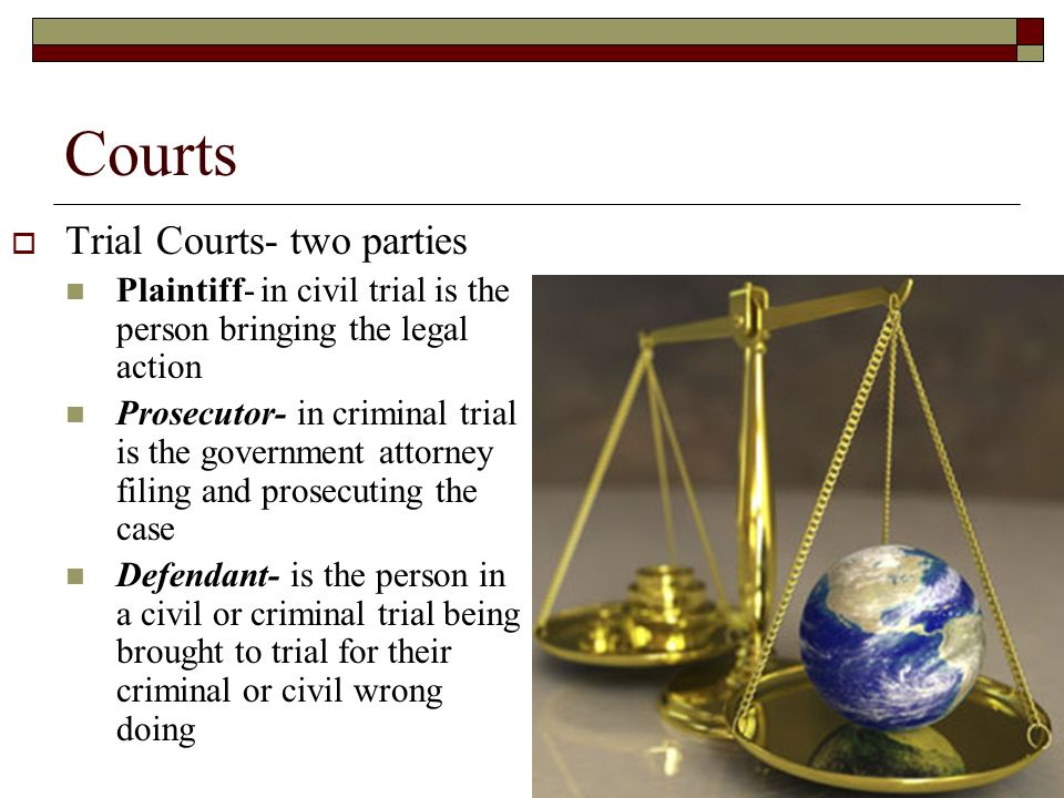 Courts  Trial Courts- two parties Plaintiff- in civil trial is the person bringing the legal action Prosecutor- in criminal trial is the government attorney filing and prosecuting the case Defendant- is the person in a civil or criminal trial being brought to trial for their criminal or civil wrong doing