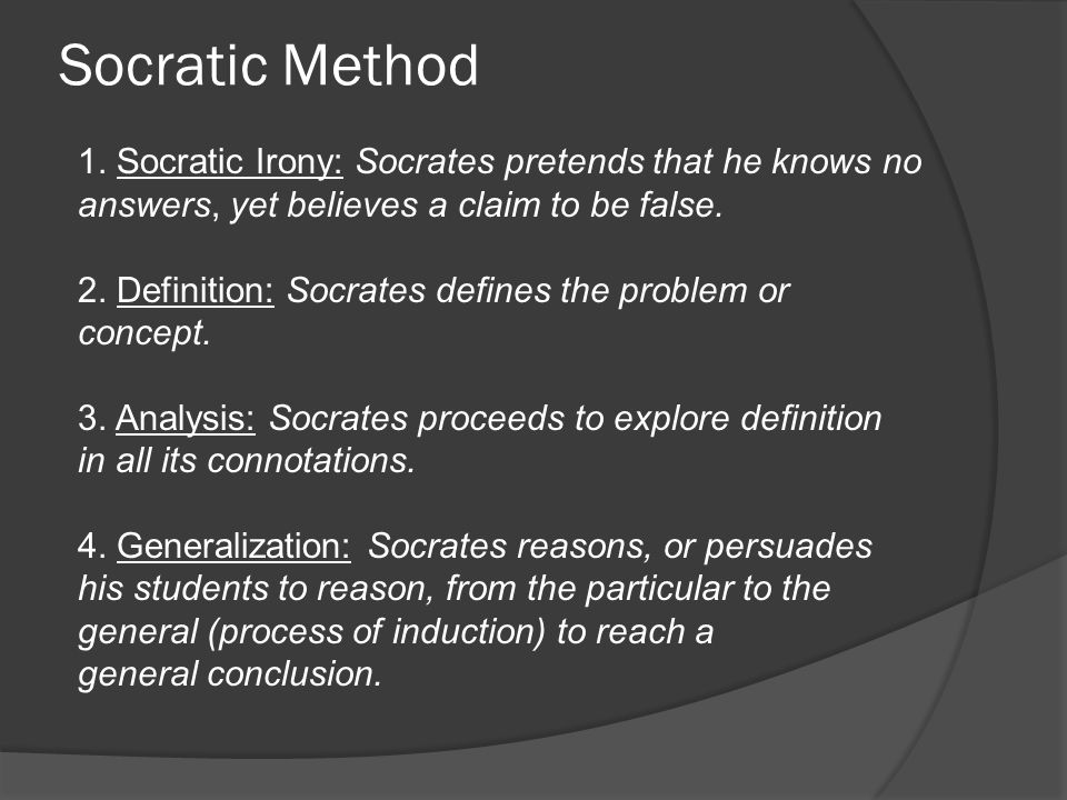 an analysis of the socratic method The socratic method is often referred to as teaching by questioning by using the socratic teaching method online  questions of application and analysis.