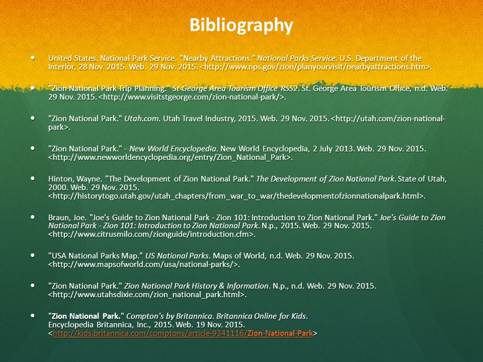Bibliography United States National Park Service