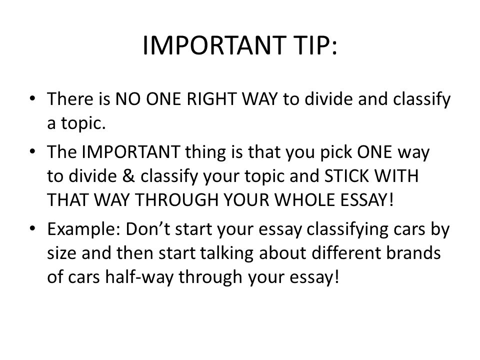 important tip there is no one right way to divide and classify a topic example of division and classification essay