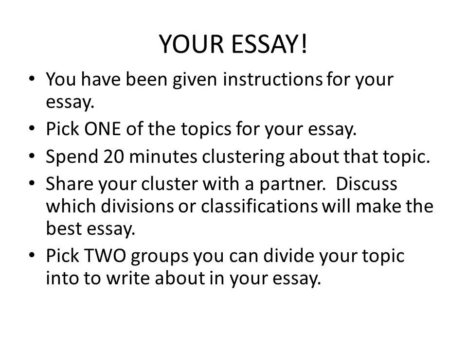 division classification essays a complex topic is broken into  your essay you have been given instructions for your essay