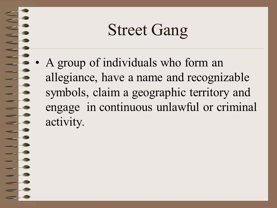 Chapter 18 Gang Related Crime Gang A Number Of People Associated In