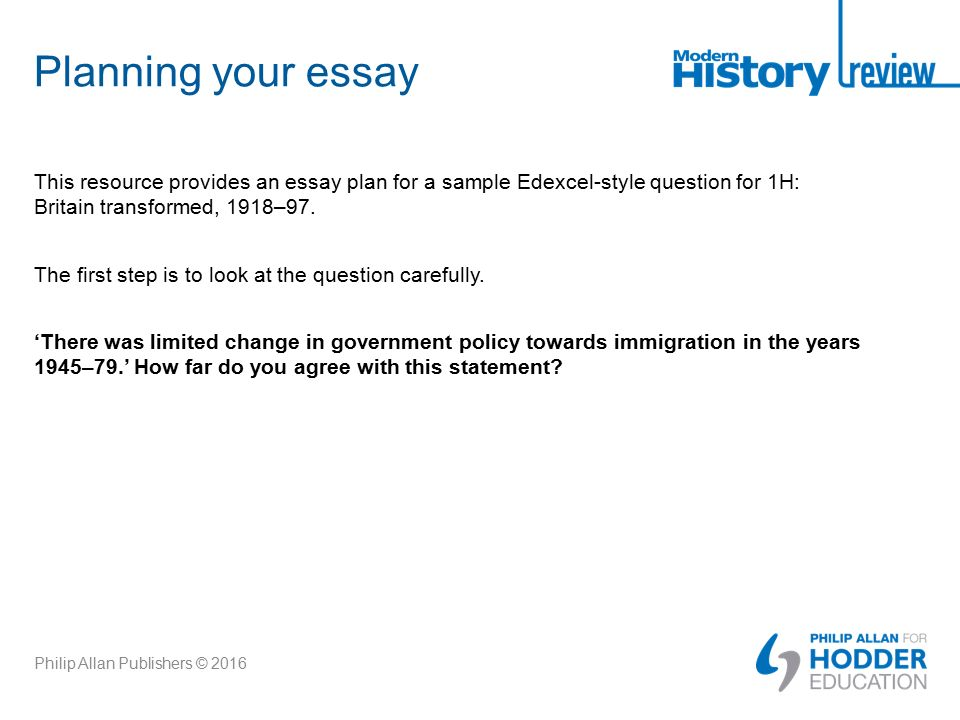 Essay Plan Sample