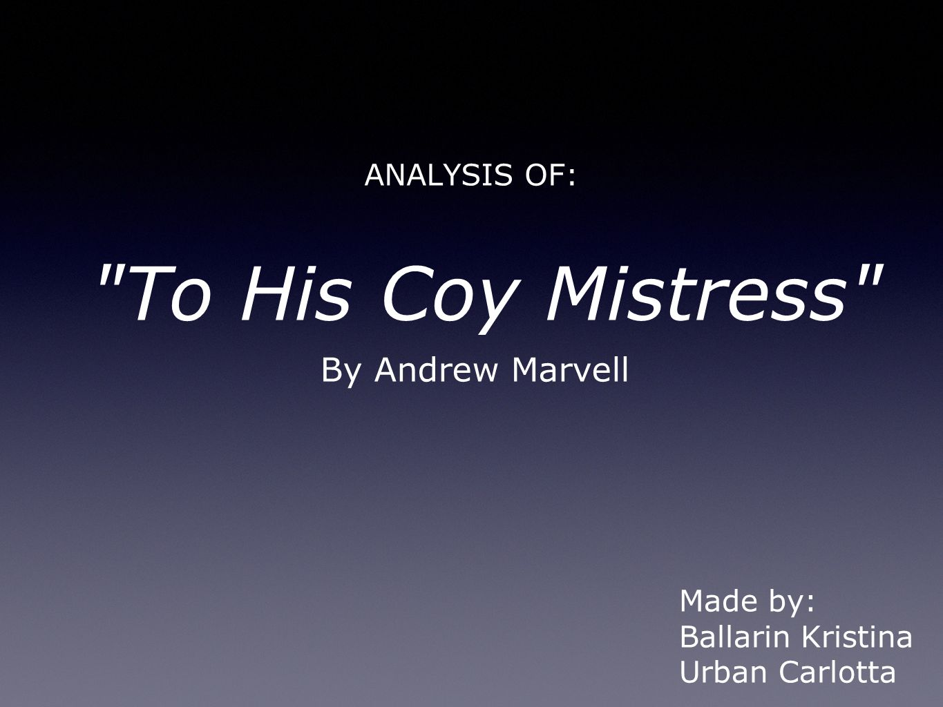 the essence of time in andrew marvels to his coy mistress