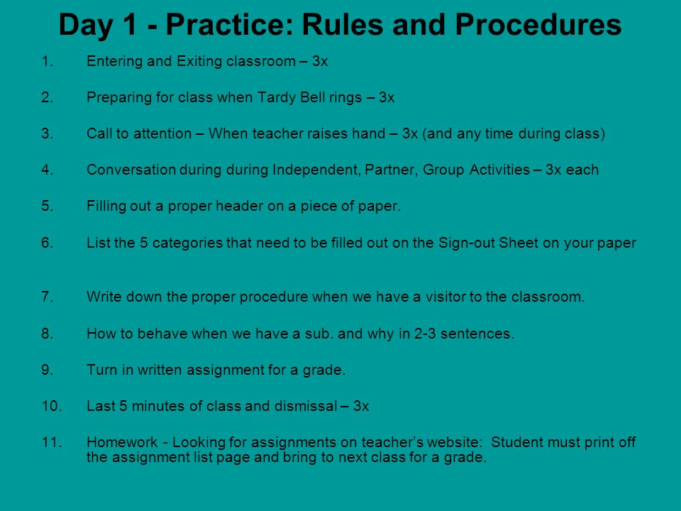 Introduction, Expectations, Rules, Procedures, And Consequences