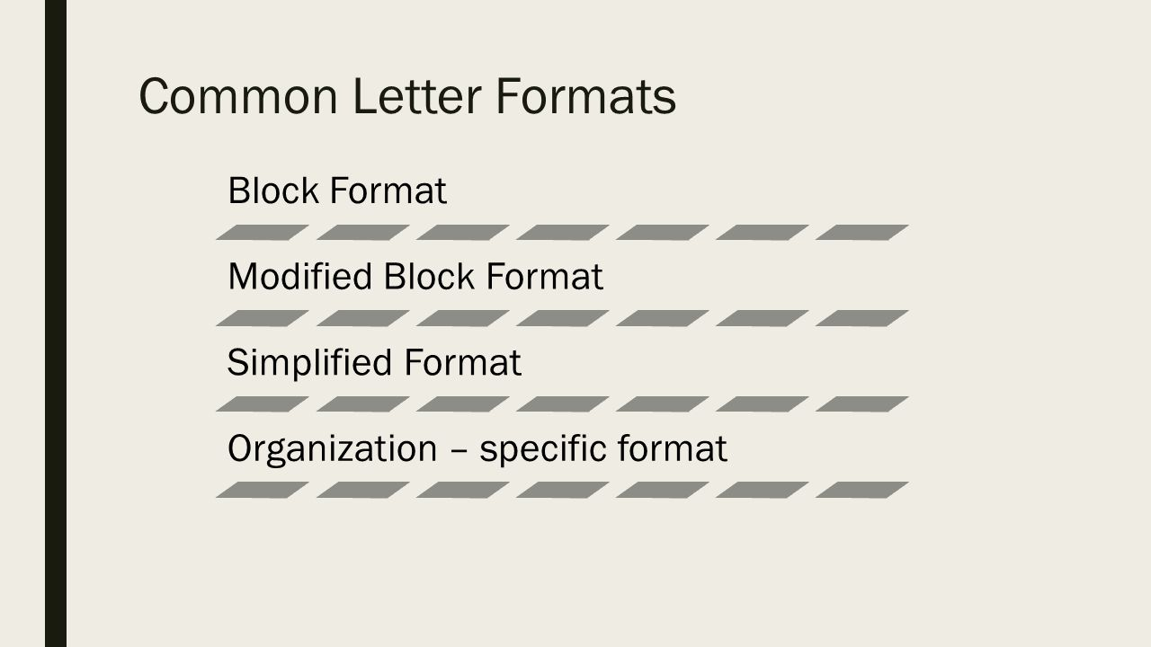 business letters and memos recipients lettersmemos s external 3 common letter formats block format modified block format simplified format organization specific format