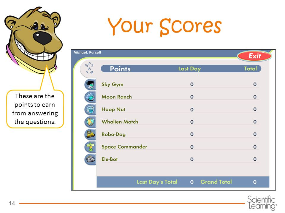 14 Your Scores These are the points to earn from answering the questions.